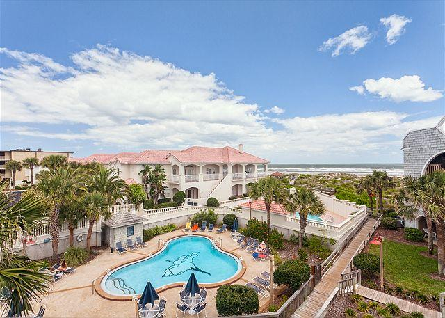 From our balcony you see the pools and the beach! - Hibiscus 302-D Ocean View, 3rd floor, 3 bedrooms, 3 pools, new HDTVs - Saint Augustine - rentals