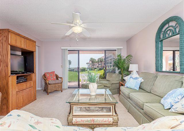 Our 1st floor living room opens to the patio with ocean view - Sea Place 13137, Ground Floor, Pool, Tennis, & Beach, St Augustine Beach FL - Saint Augustine - rentals