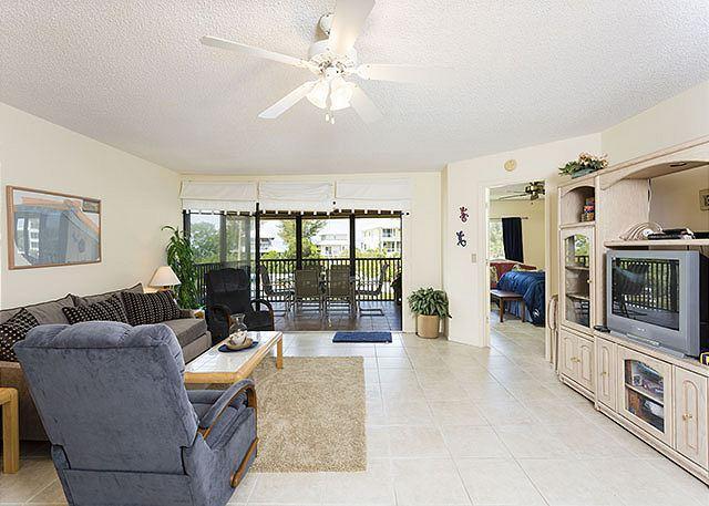 Fun awaits in our open, spacious, comfy living  area! - Castaway Cove 3B, on lagoon near beach, Siesta Key - Siesta Key - rentals
