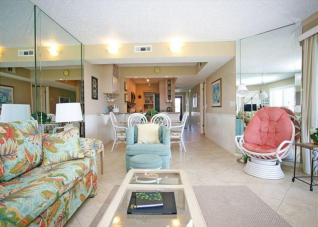 Relax in the spacious living room with access to the balcony - Colony Reef 2310, 3 bedrooms, heated pool, HDTV, St Augustine Beach FL - Saint Augustine - rentals