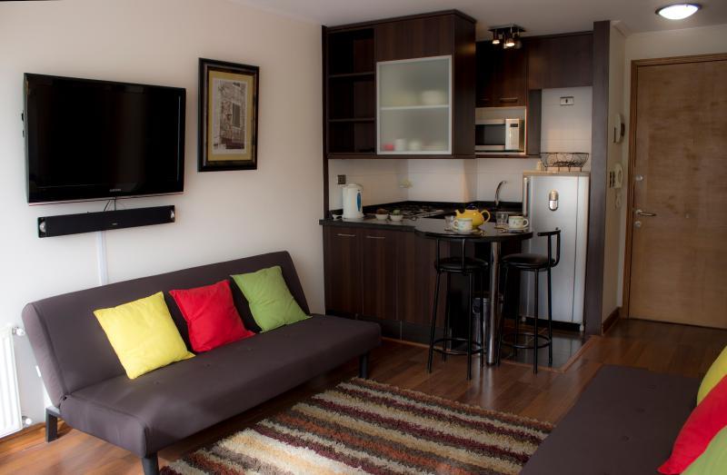 Vista Cocina desde el comedor. - Apartamento en Reñaca Viña del Mar en Condominio - Renaca - rentals