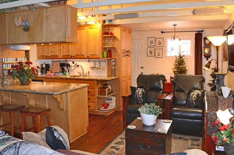 View of living room from entrance - Romantic luxury cabin w/spa, WiFi, BBQ, Nice Yard - Big Bear Lake - rentals