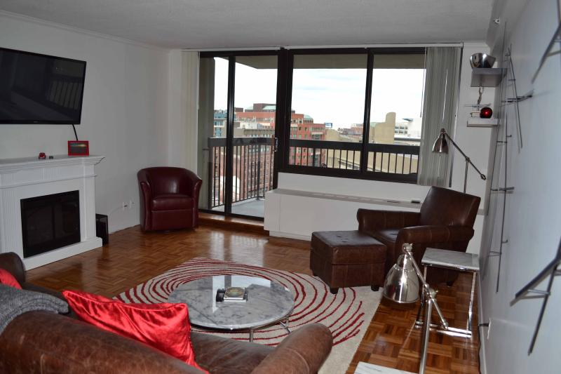 Huge living room with private balcony and views of downtown - West End One Bed: 12th Floor with Balcony & Views - Boston - rentals