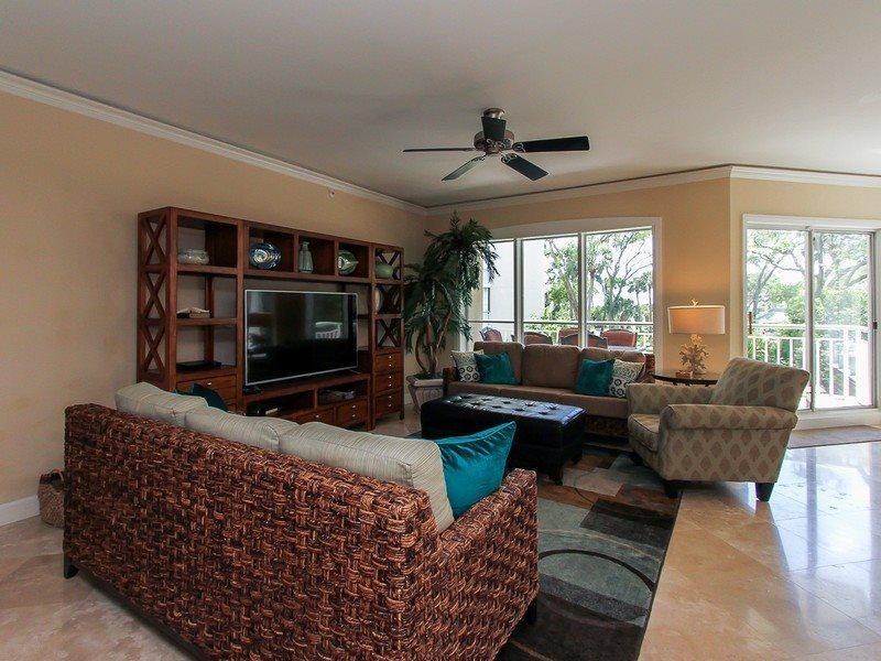 Living Room at 103 Windsor Place with 70 inch 3D television - 103 Windsor Place - Palmetto Dunes - rentals