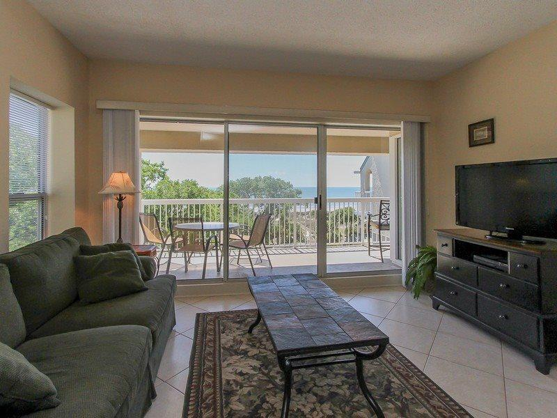 Living Room with Ocean Views at 502 Barrington Arms - 502 Barrington Arms - Palmetto Dunes - rentals