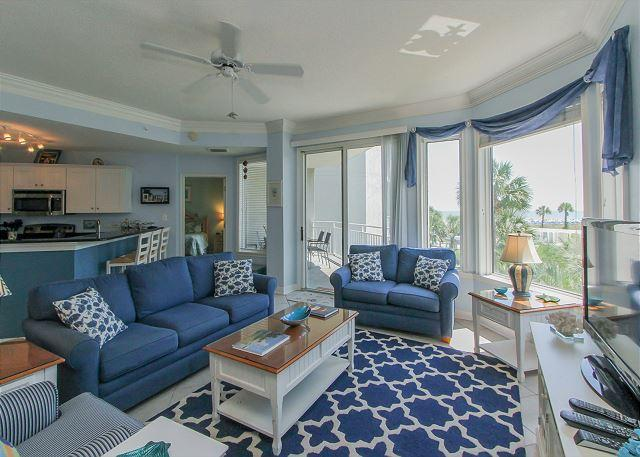 Living Area - 2212 SeaCrest - 2nd Floor, 3 bedroom, Oceanviews and more.  Beautiful!!! - Hilton Head - rentals
