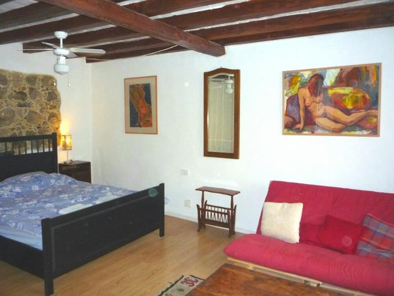 Mary's Room - the king sized bed surrounded by original painting by Jana - 1 Bed Apartment - centre of Kobarid - Sleeps 4 - Kobarid - rentals