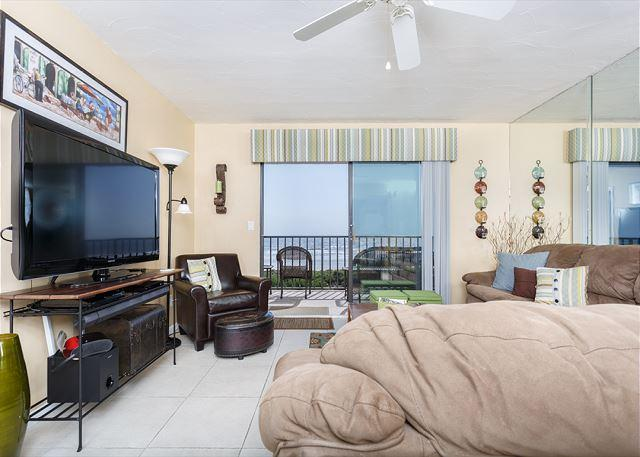 Inviting living room with much to view! - Windjammer 207 Luxury Beach Front, Newly Updated, Elevator, HDTV, - Saint Augustine - rentals