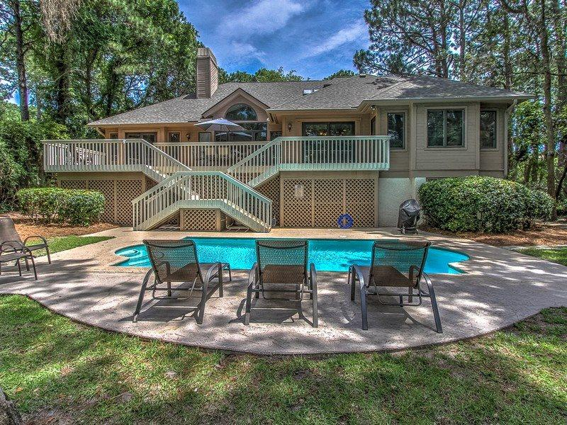 Back View with Pool at 161 Mooring Buoy - 161 Mooring Buoy-COMPLETE REMODEL IN 2015 - Palmetto Dunes - rentals
