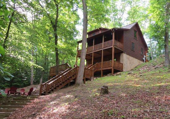LOWER VIEW OF CABIN - ALPINE LODGE- 3BR/3BA- BEAUTIFUL AND PRIVATE CREEK FRONT CABIN, 5G WIFI, AIR HOCKEY, FOOSBALL, GAME/CARD TABLE, GAS LOG FIREPLACE, HOT TUB, GAS GRILL, FIRE PIT! ONLY $135 A NIGHT! - Blue Ridge - rentals