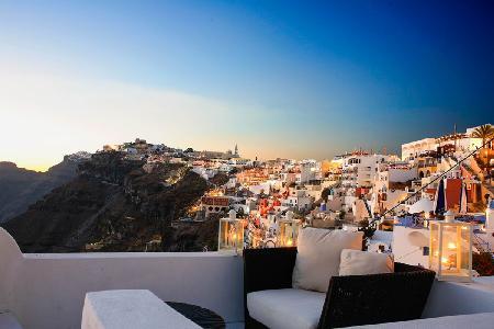 Clifftop Blue Angel Villa offers pool, exceptional views & modern amenities - Image 1 - Fira - rentals