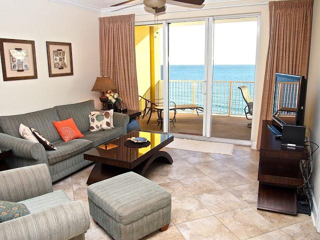 Living area with amazing views! - Family Friendly; Gulf front; 2/2 at Tropic Winds! - Panama City Beach - rentals