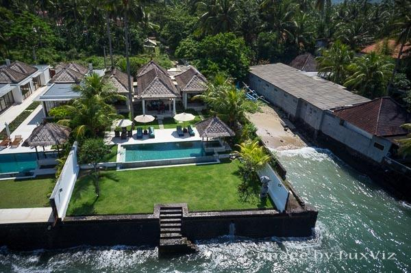 aerial view - Spectacular 3BR ocean front villa, Candidasa Bali - Candidasa - rentals