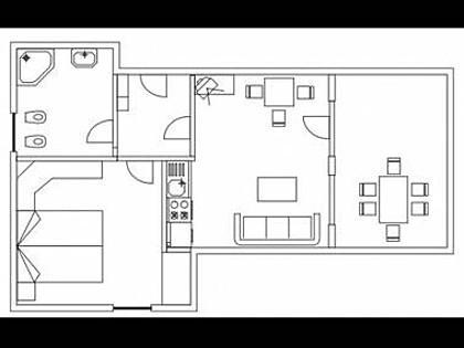 A2 M(2+2): floor plan - 3946 A2 M(2+2) - Petrcane - Petrcane - rentals