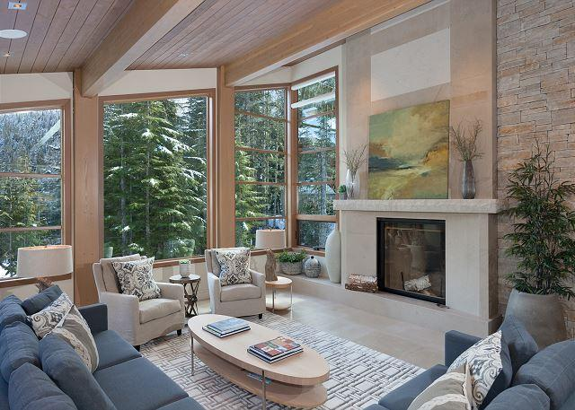 Formal Living Area with Fireplace and Scenic Views - Luxury Ski-in/Ski-Out, Media Room, Wood-Burning Fireplace, Private Hot Tub - Whistler - rentals