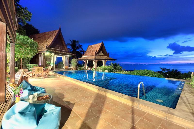 Villa Thai Teak at night - stunning views - Thai style villa with amazing Ocean Views - Koh Samui - rentals