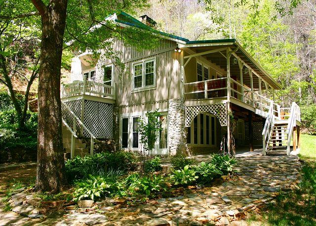 """""""CREEKSIDE WATERFALL"""" Private, Cascading Waterfalls, Bubbling Hot Tub & WiFi! - Image 1 - Millers Creek - rentals"""