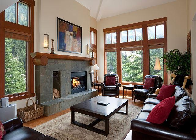 Spacious Living Area with Flat Screen TV and Fireplace - Ski-in/Ski-out, Scenic Vistas, Wood-Burning Fireplace, Private Hot Tub - Whistler - rentals