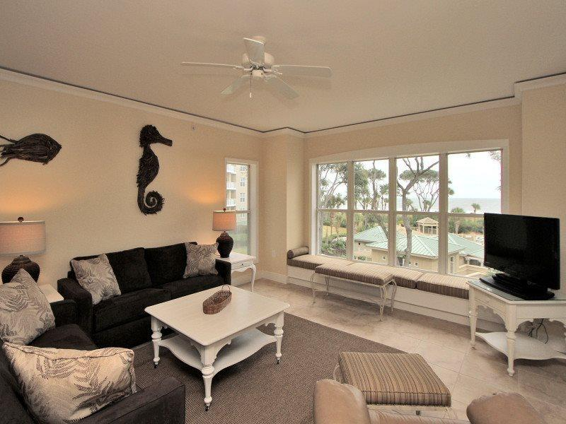 Living Room with Balcony Access - 6201 Hampton Place - Hilton Head - rentals