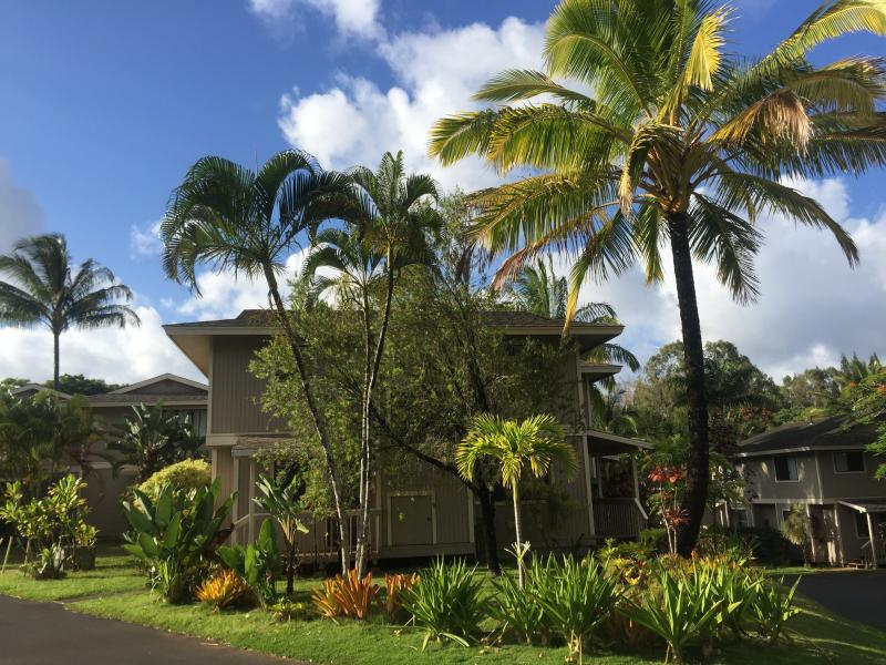 Front of property, yard and parking (left) - Princeville Kauai Hawaii Quaint Affordable 3 Bdrm - Princeville - rentals