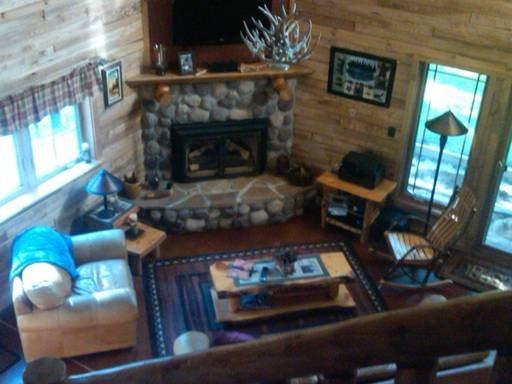Open concept great room with fireplace, luxury living - Loon Lodge Cabin *Wisconsin Northwoods* - Tomahawk - rentals