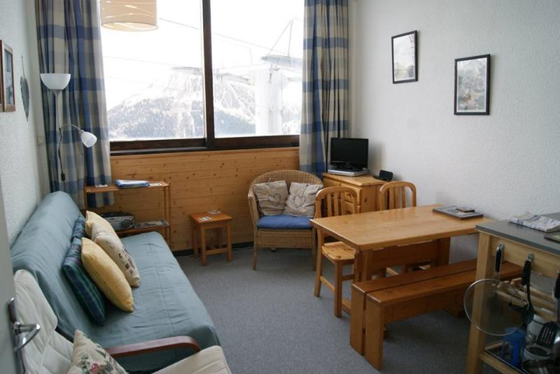 Lounge with panoramic view of My Blanc and the valley - La Plagne, Ski Apartment, Aime 2000, WIFI, 30m2 - Aime - rentals