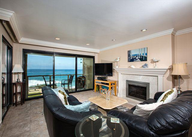 Oceanfront living room view - 2 Bedroom, 2 Bathroom Vacation Rental in Solana Beach - (SUR57) - Solana Beach - rentals