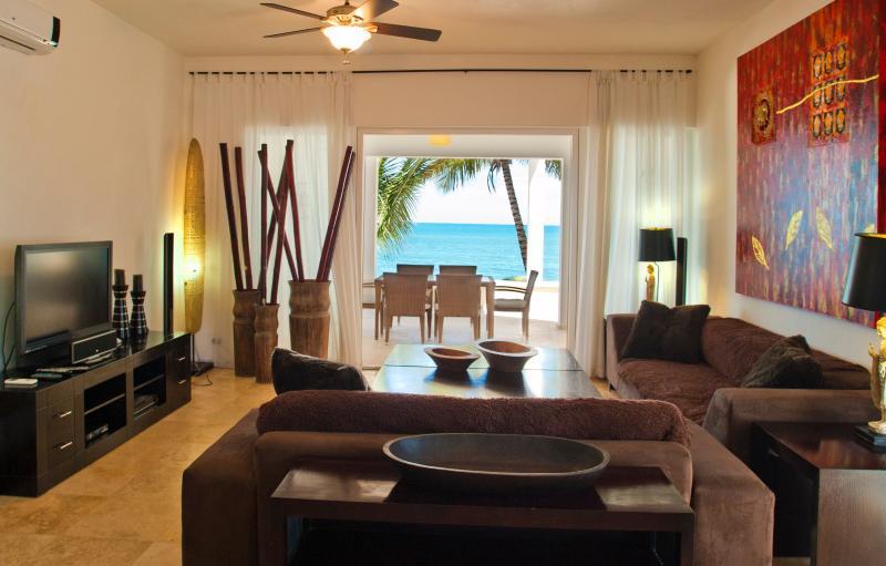 Living Room with Ocean View - Luxury Beachfront Condo in Cabarete - Cabarete - rentals