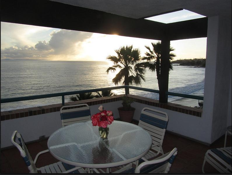 View from your apartment terrace.   That's your table and chairs, plus more furniture. - LAGUNA BEACH !  OCEANFRONT APARTMENT!!  DOWNTOWN! - Laguna Beach - rentals