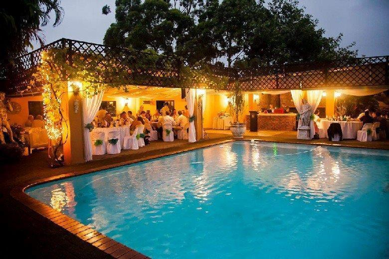 Pool Deck at Stephward Estate set up for a wedding reception, Breakfasts, Lunch and Dinners - Stephward Estate Country House - Uvongo - rentals