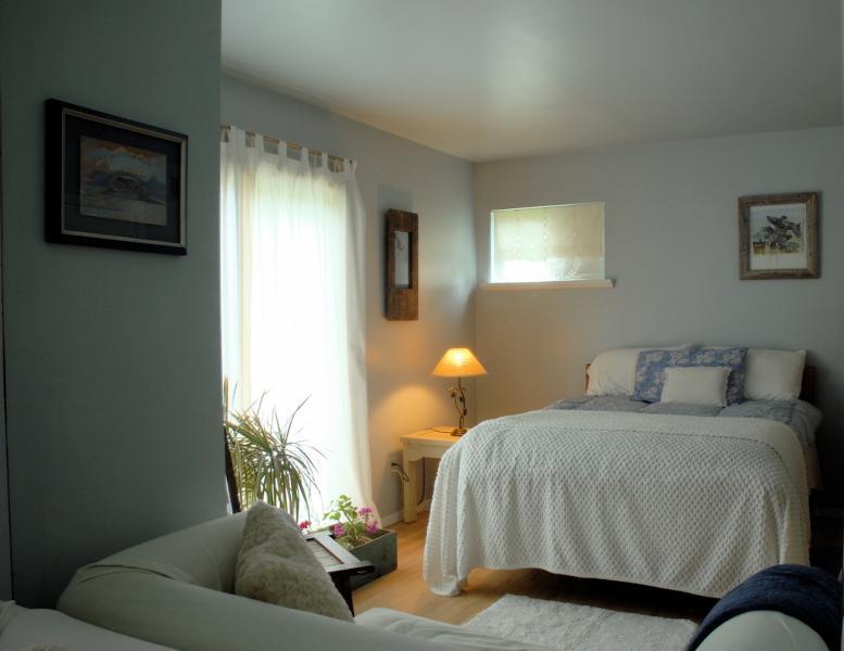 Your bedroom with a double bed, sofa and sliding glass doors to the back deck. - BRIDGEHAMPTON Special, Room+Bath Suite - Bridgehampton - rentals