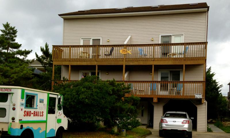 The front of the duplex. Rental is on the right. Steps away from Matts Fish Camp! - 4 Bdrm, N Bethany Duplex - 50 Steps From The Beach - Bethany Beach - rentals