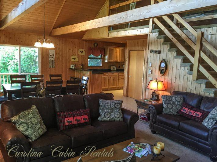 Main Living Area - New Leather Couches - Mountain Top Cabin - Blowing Rock - rentals