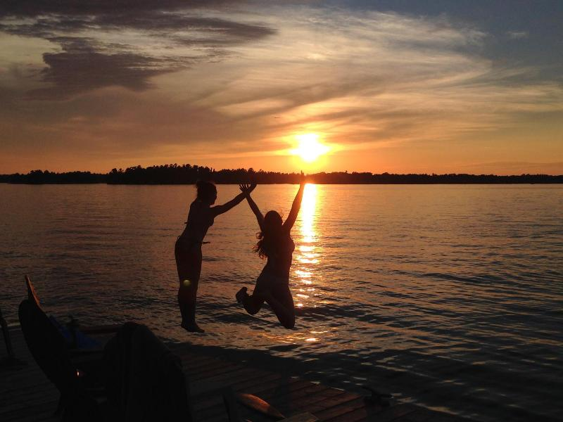 Swimming in the sunset right from our dock! - Cottage & Arcade Bunkie, Six Mile Lake Muskoka ON - Muskoka - rentals