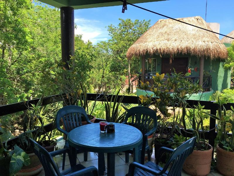 Large balcony to enjoy your views of the jungle and the hundreds of singing exotic birds - Casita Encantada ll and Botanical Garden wth Pool - Tulum - rentals