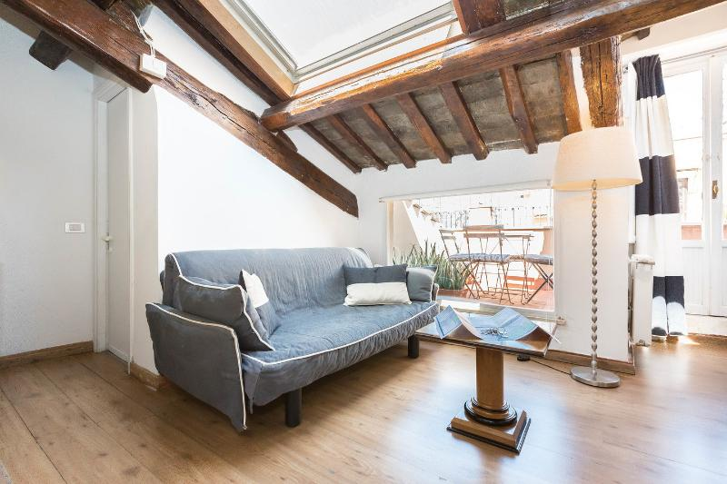 Kitchen - Dining Room - Living Room - ROME CENTER TREVI FOUNTAIN COZY APARTMENT WITH TERRACE WI FI/AC - Rome - rentals