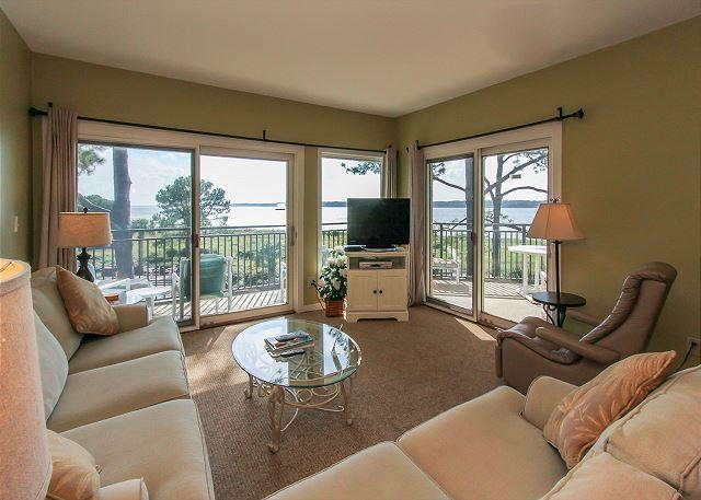 Living Area - 1874 Beachside Tennis - Breathtaking waterfront views from every room. - Hilton Head - rentals