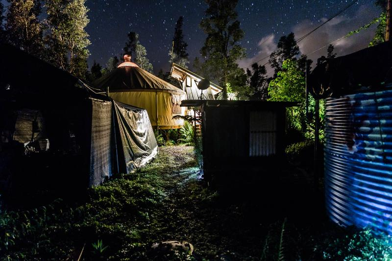 Nighttime view 2015 September. - Chic Eco Yurt Home + Gardens - Pahoa - rentals