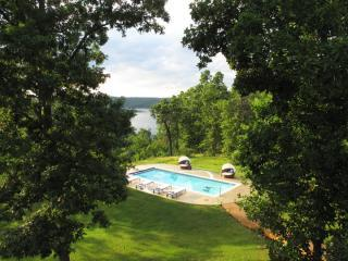 View from the deck of the pool and lake beyond. - Luxury Ozark Mountain Cabin, Lake Norfork, AR - Mountain Home - rentals