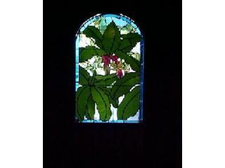 Yep.  Thats a stained glass window with a Cuban banana tree. Ask about our banana trees hisroty - 1870 Banana Courtyard French QuarterNew Orleans B& - New Orleans - rentals