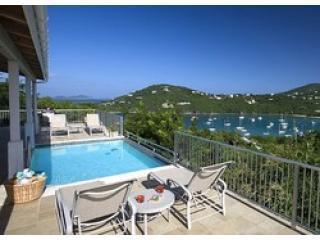 The Pool deck and partial view to North and Great Cruz Bay - Hummingbird's Seacret  Villa St John USVI - Cruz Bay - rentals