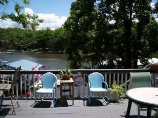 Large sunny deck with Weber Grill and Bar.  Firepit by lake. - Best Cove lakefront Cabin / swim deck/  OsageBeach - Osage Beach - rentals