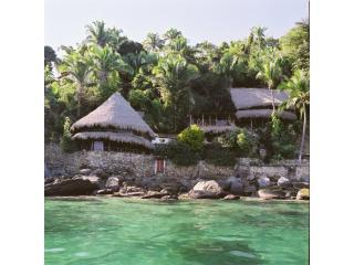 looking at the casas from the water - Casa Santa Cruz- Palapas in Yelapa Mexico - Yelapa - rentals
