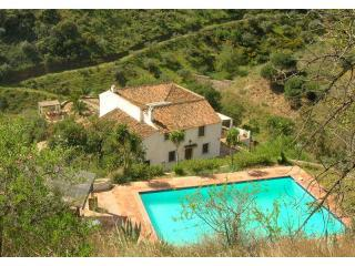 From high above the pool looking down to the farmhouse and terraces. - Finca Las Adelfas - Malaga - rentals