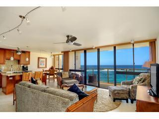 Amazing Living Room Views, Open to Kitchen and Dining Area - POIPU, KAUAI, OCEANFRONT 2BD/2BA, KUHIO SHORES 410 - Koloa - rentals
