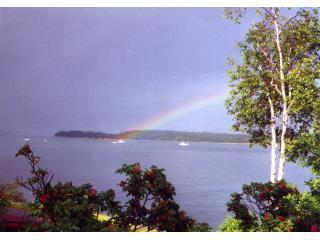 Rainbow from cottage deck - Blue Heron Cottage -- Oceanfront - Acadia National Park - rentals