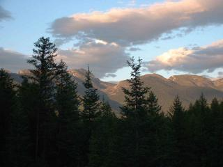 "Another Beautiful Day in Bigfork - View from Deck - ""Swan Peaks"" Log Cabin Chalet - Lovely Mtn Views - Creston - rentals"
