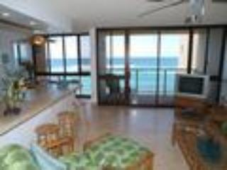 Living Room View to Lanai and OceanFRONT - Kuhio Shores,Oceanfront 1BR/1BA, full kitchen - Poipu - rentals