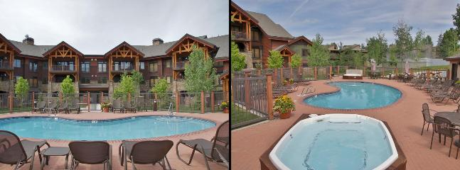 1 of the 4 Heated Pools, 2 of the 11 Hot Tubs, Tables,  Umbrellas, & Sunbathing Chairs - Ultimate Resort Location - Private Shuttle Service - Great Amenities, Mountain Views (9950) - Steamboat Springs - rentals