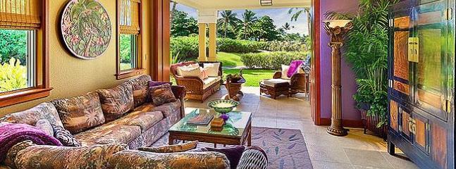 """Kolea Villa 16A - Great Room, Lanai, Tropical Gardens - Kolea Villa 16A~Garden View """"Tropical Rainforest"""" - Waikoloa - rentals"""